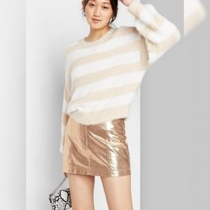 Wild Fable Beige/white striped fuzzy sweater